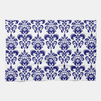 Navy Blue, White Vintage Damask Pattern 2 Tea Towel