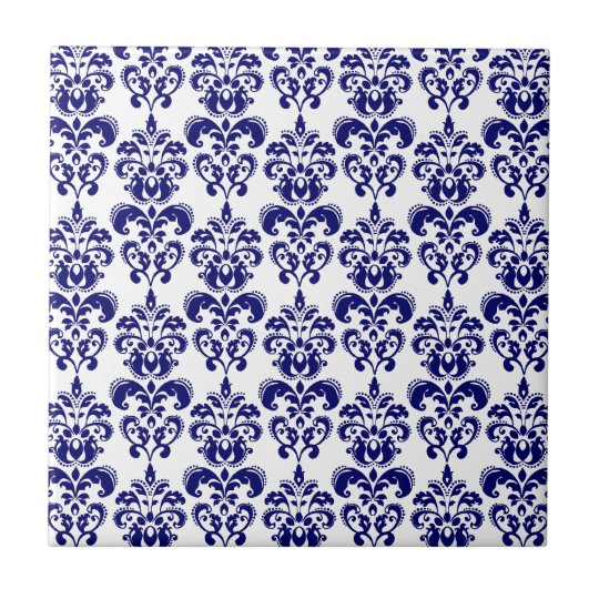 Navy Blue, White Vintage Damask Pattern 2 Tile