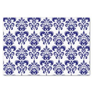 Navy Blue, White Vintage Damask Pattern 2 Tissue Paper