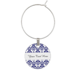 Navy Blue, White Vintage Damask Pattern 2 Wine Charm