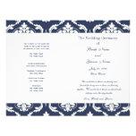 Navy Blue White Vintage Damask Wedding Program Flyer Design