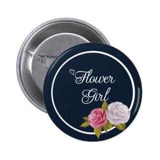 Navy Blue White Vintage Floral Flower Girl 6 Cm Round Badge