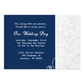 Navy Blue White Vintage Wedding Invites