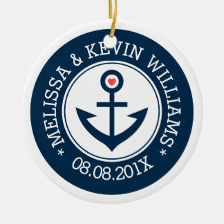Navy-Blue & White Wedding Nautical Boat Anchor Christmas Ornament