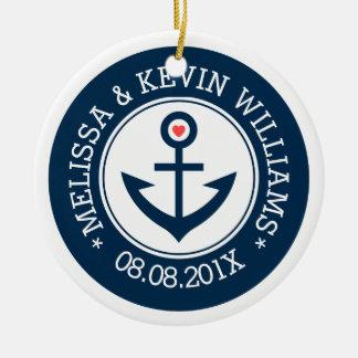 Navy-Blue & White Wedding Nautical Boat Anchor Round Ceramic Decoration