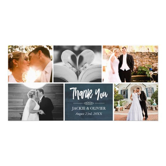 Navy Blue & White Wedding Photo Collage Thank
