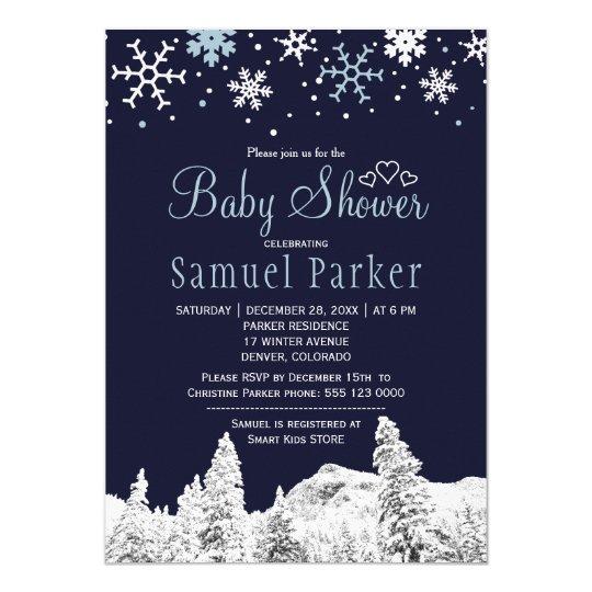 Navy blue white wonderland winter baby shower card