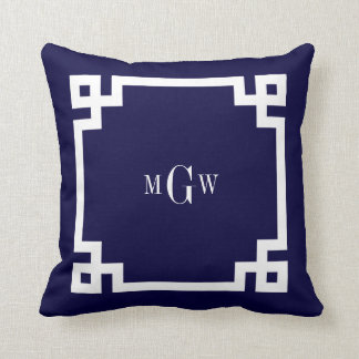 Navy Blue Wht Greek Key #2 Framed 3 Init Monogram Cushion