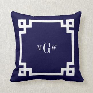 Navy Blue Wht Greek Key 2 Framed 3 Init Monogram Throw Pillows