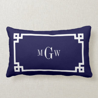 Navy Blue Wht Greek Key #2 Framed 3 Init Monogram Lumbar Cushion