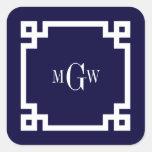 Navy Blue Wht Greek Key #2 Framed 3 Init Monogram Square Sticker