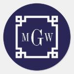 Navy Blue Wht Greek Key #2 Framed 3 Init Monogram Round Sticker