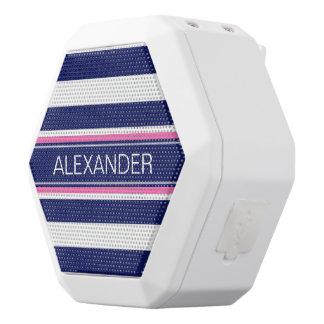 Navy Blue Wht Horiz Stripe Hot Pink Name Monogram White Boombot Rex Bluetooth Speaker