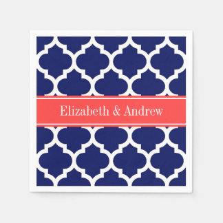 Navy Blue Wht Moroccan #5 Coral Red Name Monogram Paper Napkins