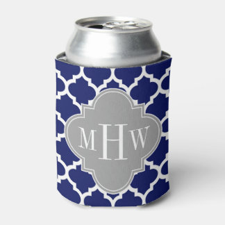 Navy Blue Wht Moroccan #5 Gray 3 Initial Monogram Can Cooler
