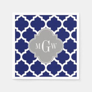 Navy Blue Wht Moroccan #5 Gray 3 Initial Monogram Disposable Serviette