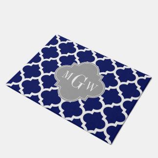 Navy Blue Wht Moroccan #5 Gray 3 Initial Monogram Doormat