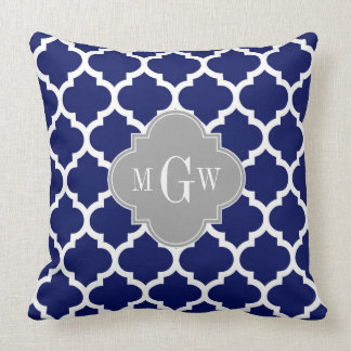 Navy Blue Wht Moroccan #5 Gray 3 Initial Monogram Throw Pillow