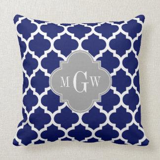 Navy Blue Wht Moroccan #5 Gray 3 Initial Monogram Throw Pillow