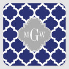 Navy Blue Wht Moroccan #5 Grey 3 Initial Monogram Square Sticker