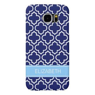 Navy Blue Wht Moroccan #6 Sky Blue Name Monogram Samsung Galaxy S6 Cases