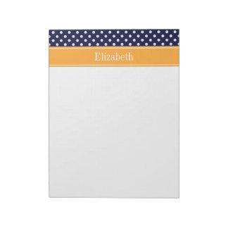 Navy Blue Wht Polka Dots Cantaloupe Name Monogram Notepad