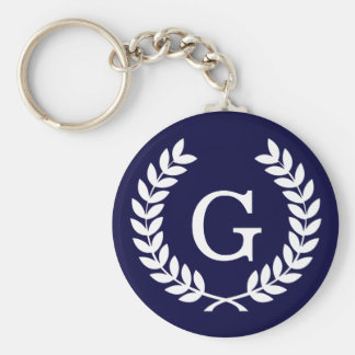 Navy Blue Wht Wheat Laurel Wreath Initial Monogram Basic Round Button Key Ring