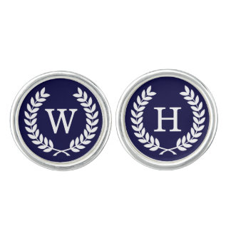 Navy Blue Wht Wheat Laurel Wreath Initial Monogram Cufflinks