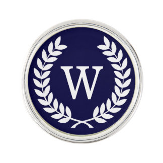 Navy Blue Wht Wheat Laurel Wreath Initial Monogram Lapel Pin