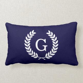Navy Blue Wht Wheat Laurel Wreath Initial Monogram Lumbar Cushion