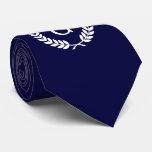 Navy Blue Wht Wheat Laurel Wreath Initial Monogram Tie