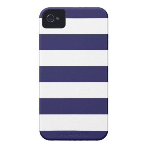 Navy Blue Wide Stripe iPhone Case iPhone 4 Cover
