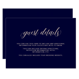 Navy Blue with Blush Typography | Guest Details Card