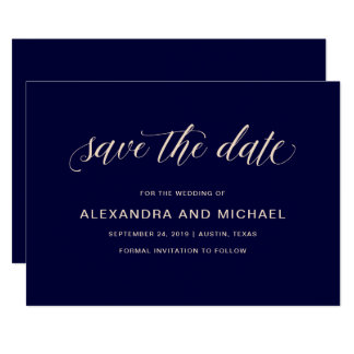 Navy Blue with Blush Typography | Save the Date Card