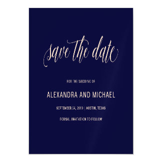 Navy Blue with Blush Typography | Save the Date Magnetic Card