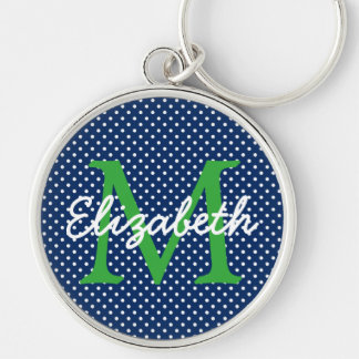 Navy Blue With Green and White Polka Dot Monogram Key Ring