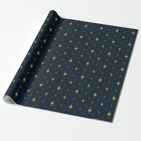 Navy Blue with Metallic Gold Stars Wrapping Paper
