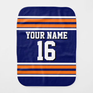 Navy Blue with Orange White Stripes Team Jersey Burp Cloth