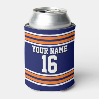Navy Blue with Orange White Stripes Team Jersey Can Cooler