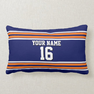 Navy Blue with Orange White Stripes Team Jersey Lumbar Pillow