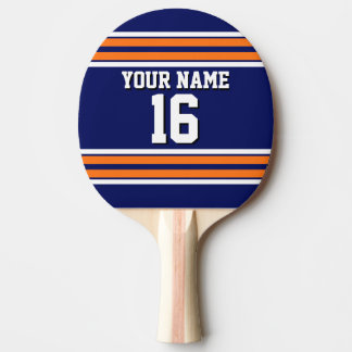 Navy Blue with Orange White Stripes Team Jersey Ping Pong Paddle