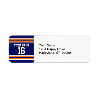 Navy Blue with Orange White Stripes Team Jersey Return Address Label