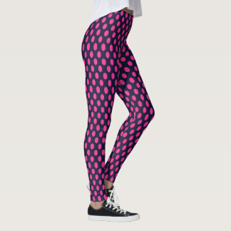 Navy Blue with Pink Polka Dots Leggings