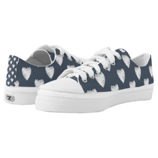 Navy Blue with White Hearts Low Tops