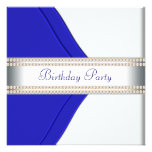 Navy Blue Womans Birthday Party Invitation