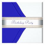 Navy Blue Womans Birthday Party Invites