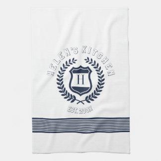 Navy Blue Wreath And Stripes Design Monogram Tea Towels