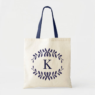 Navy Blue Wreath Personalized Monogram Canvas Bag