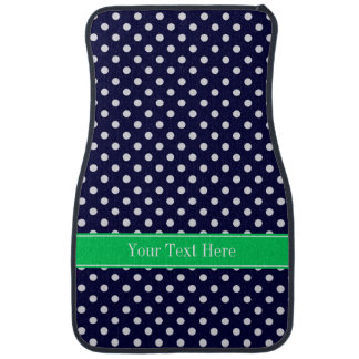 Navy Blue Wt Polka Dot Emerald Green Name Monogram Car Mat