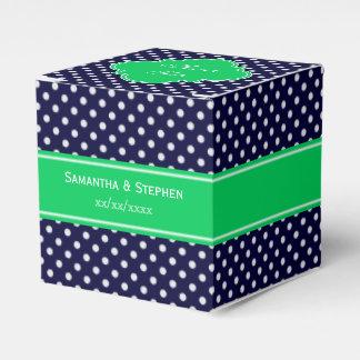 Navy Blue Wt Polka Dot Emerald Green Name Monogram Favour Box